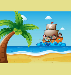 Scene with kids on the sailboat vector