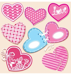 Scrapbook set of hearts in stitched textile style vector
