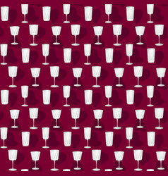 seamless pattern glass goblets vector image