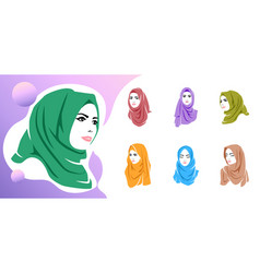 Set beautiful woman wearing colorful hijab icon vector