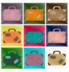 Set of flat icons in shading style suitcase vector