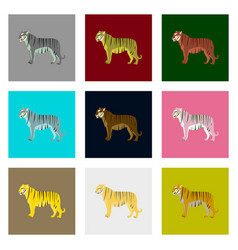 Set of in flat style tigers vector