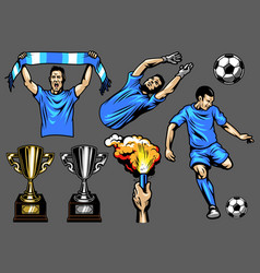 Set of soccer elements and players vector