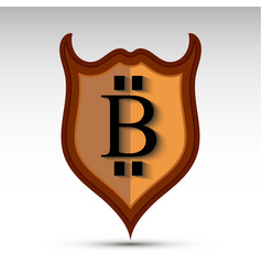 shield with bit coin symbol vector image