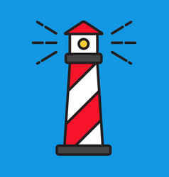 simple line red lighthouse flat style vector image