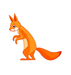 Squirrel stands and watches curiously cartoon vector