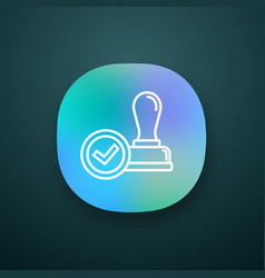 stamp approved app icon vector image