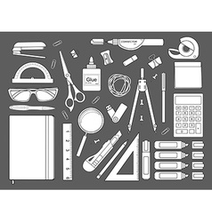 Stationery tools icons set Contour vector