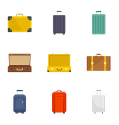 suitcase icon set flat style vector image