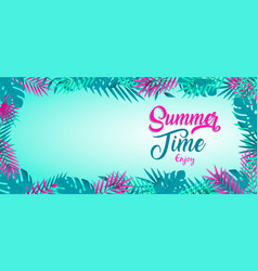 summer time banner tropical jungle plants vector image