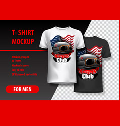 t-shirt template fully editable with bikers club vector image