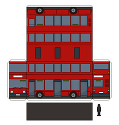 the simple paper model of a red double decker vector image