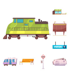 train and station sign vector image