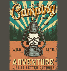 Vintage summer camping colorful poster vector