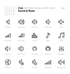 volume controls outline icons equaliser vector image