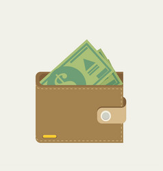 Wallet full of green dollars flat style vector