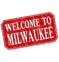Welcome to milwaukee red square grunge stamp vector