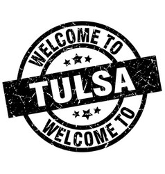 Welcome to tulsa black stamp vector