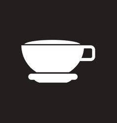 White icon on black background cup of tea vector