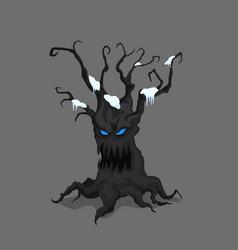 winter tree in cartoon style fantasy monster vector image
