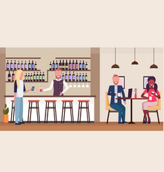 woman standing at bar counter drinking alcohol vector image