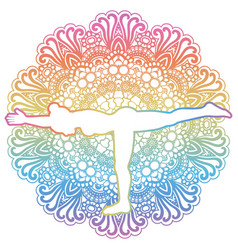 women silhouette warrior 3 yoga pose vector image