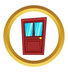 Wooden door with glass icon cartoon style vector