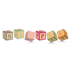 Word SIMPLE written with alphabet blocks vector