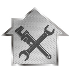 wrench and house repair symbol vector image