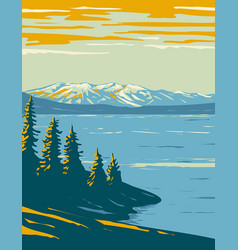 Yellowstone lake the largest body of water vector