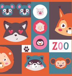 Zoo animals collage set vector