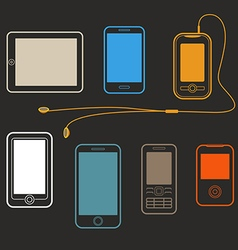 Different mobile gadgets lineart design collection vector image vector image