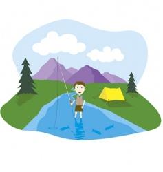 fishing cartoon vector image vector image