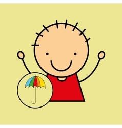 cartoon boy happy colors umbrella vector image