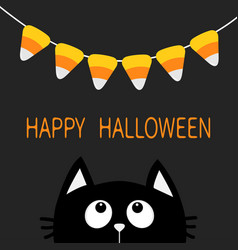 cat face head silhouette looking up to bunting vector image vector image