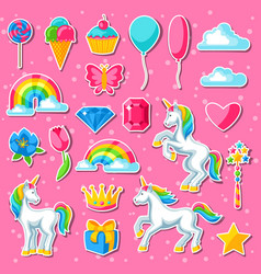 Collection of unicorns and fantasy decorative vector
