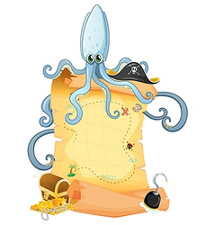 A treasure map with a big octopus vector image vector image