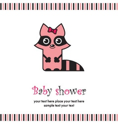 baby shower with cute raccoon vector image vector image