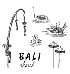 Bali sketch penjor for galungan ceremonial vector