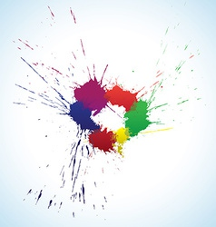 Colorful ink blots ring vector image