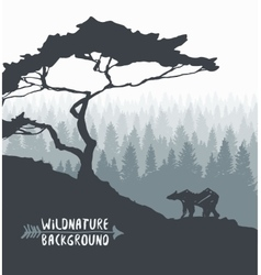 Forest pine tree bear silhouette drawn vector image