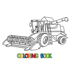 Funny combine harvester with eyes coloring book vector