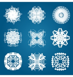 set of 9 decorative snowflakes vector image vector image