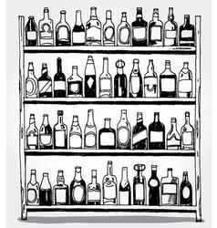 Shelf full of bottles hand drawn vector