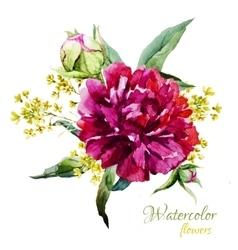 Watercolor summer flowers vector image vector image