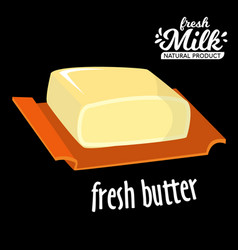 brick of butter on plate milk based product vector image