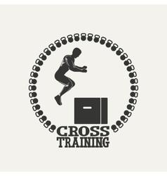 Cross Training man silhouet 3 logo vector image