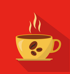cup of hot coffee cartoon flat icon brazil vector image vector image