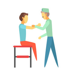 doctor examining injured arm of young man sitting vector image vector image