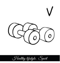 dumbbells sketch icon a call to play vector image